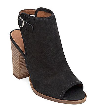 Lucky Brand Lisza Embossed Leather Back Strap Peep-Toe Booties   Dillards