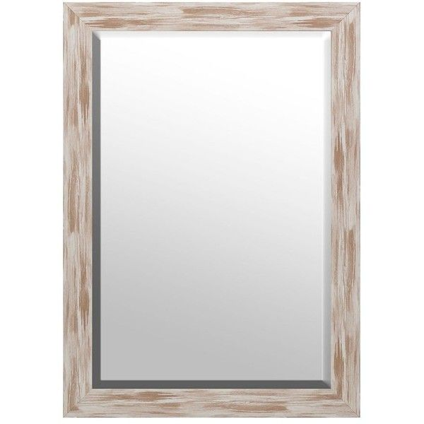 Distressed White Driftwood Framed Mirror 30x42 30 Liked On Polyvore Featuring Home Home Decor Mirrors Bev Bathroom Mirror Frame Driftwood Frame Mirror