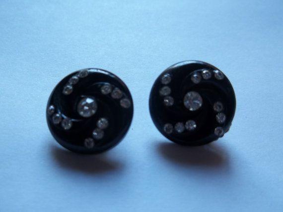 1930s Black Rhinestone Clasp Earrings