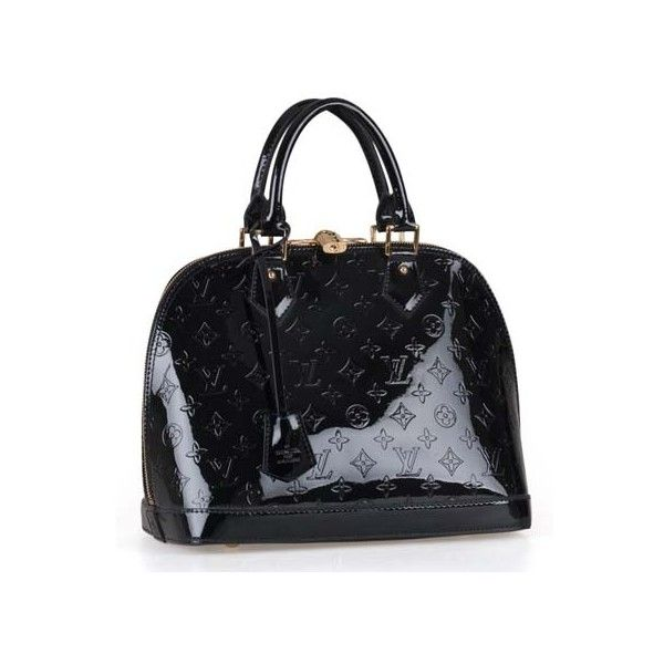 Louis Vuitton Monogram Vernis Alma PM 95273 Black found on Polyvore