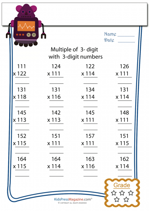 Multiplication Worksheet 3 Digit By 3 Digit 6 Matematica 5 9