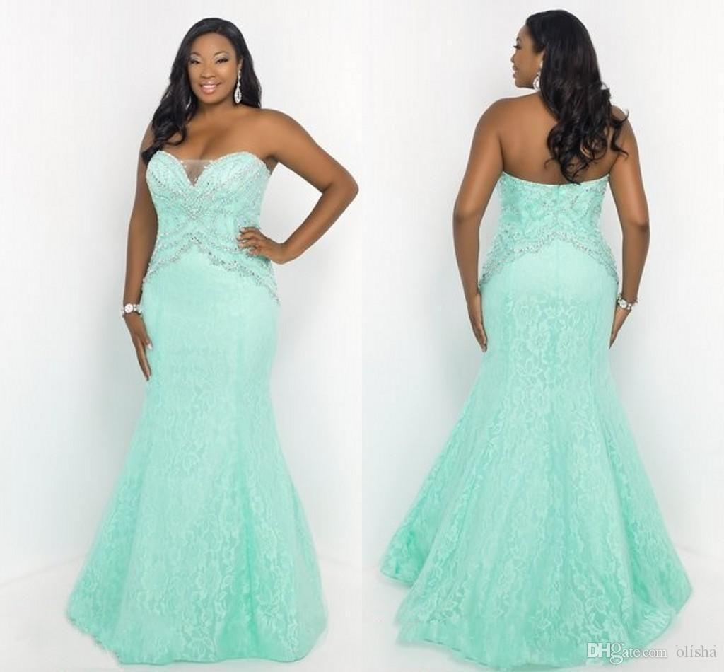 Plus Size Women Dresses Design Floor Length Lace Shiny Evening Gowns ...