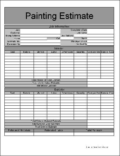Printable Job Estimate Forms Here Is A Preview Of The Basic Painting Form