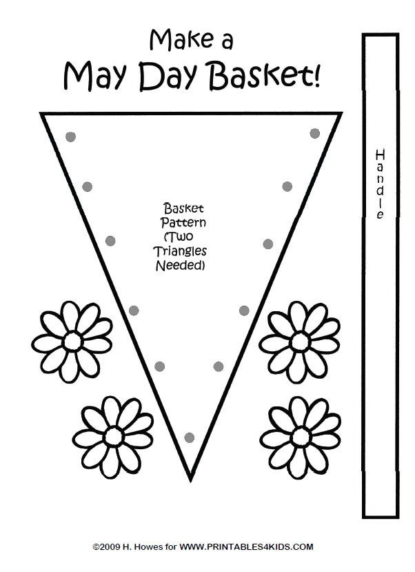 May Day Daisy Basket Craft Pattern : Printables for Kids