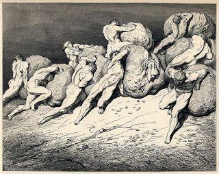 Ávaros y pródigos o La avaricia de Gustavo Doré (Ilustración para la Divina Comedia)