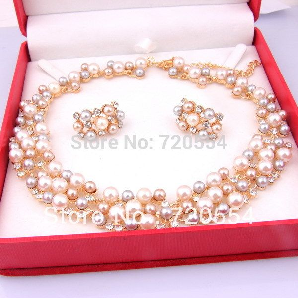 2a504ed00 2015 New Fashion Imitation Pearl Necklace18K Dubai Gold Plated Necklace Set  African Beads Costume Acessories Bridal Jewelry Sets-in Jewelry Sets from  ...