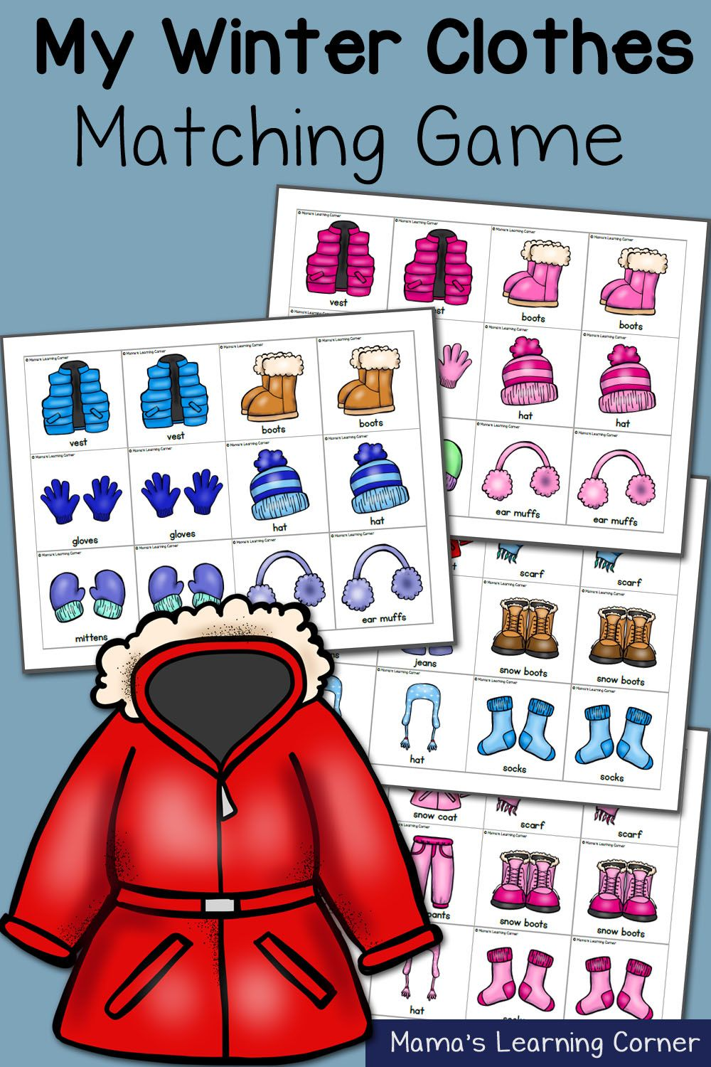 Printable color matching games for preschoolers - My Winter Clothes Match Game