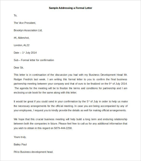 Best Formal Letter Templates Free Sample Example Format Official