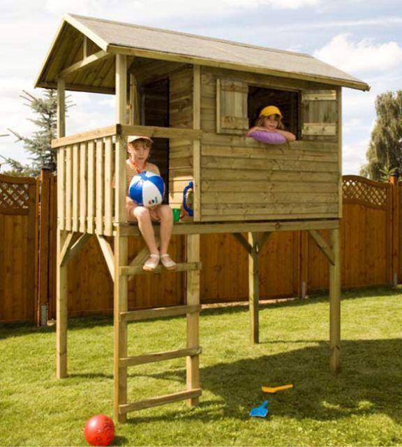 Casetta bambini legno per giardino rialzata kid for Grande casetta per bambini