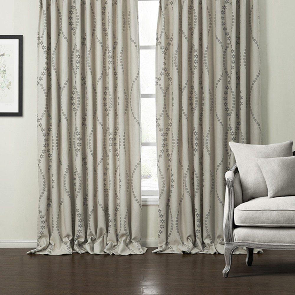 Insulated Blackout Lined Curtains Drapes Koting 1 Panel Grommet Top Linen Curtains Grey Floral Jaquard Drapes Check Drapes Curtains Curtains Drapes Grommet