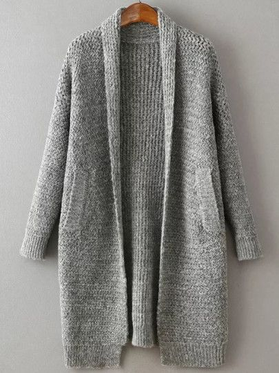 Grey Shawl Collar Drop Shoulder Long Sweater Coat Outfit Idea For