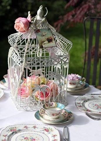 Tea party decor idea mom 39 s 90th birthday pinterest for Cage a oiseau decorative