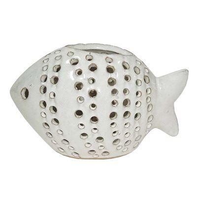 Allen roth 4 in h white ceramic fish outdoor decorative lantern allen roth 4 in h white ceramic fish outdoor decorative lantern aloadofball Images