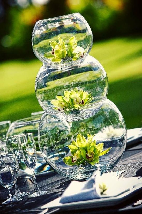 fish bowl wedding flower centerpiece
