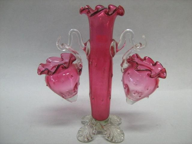 A Victorian Epergne In Cranberry Gl With Two Hanging Baskets English Carter S Price Guides To Antiques And Collectables