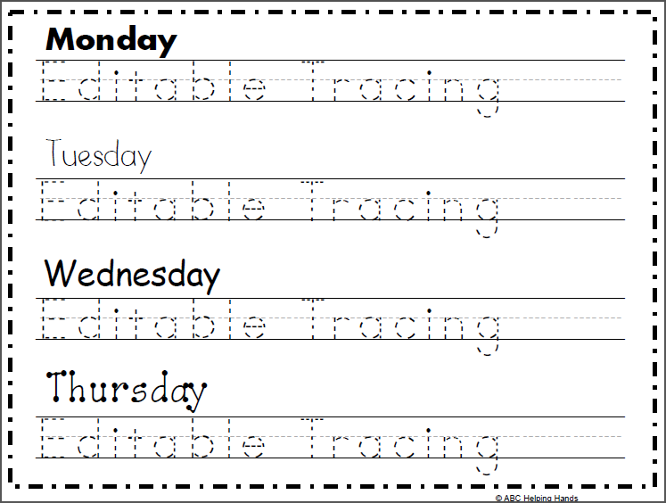 Free Editable Name Tracing Worksheet 4 Day Name Activities