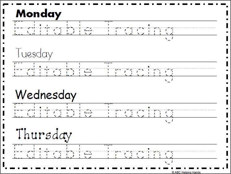 Free Editable Name Tracing Worksheet - 4 Day | Name ...