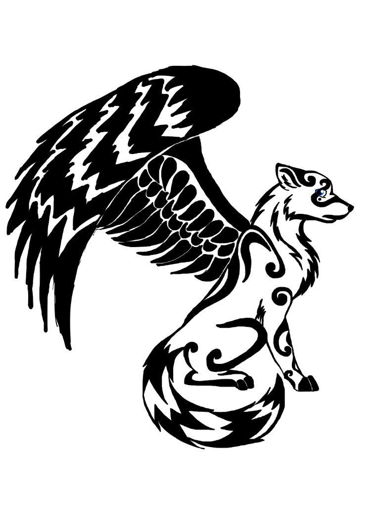 winged wolf design by dragondescendant on deviantart animals