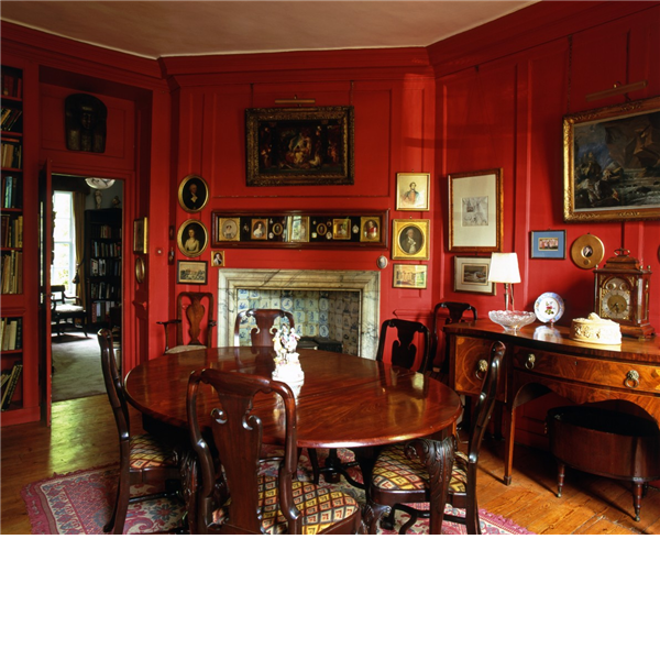 Old Study Room Design: Red English Dining Room