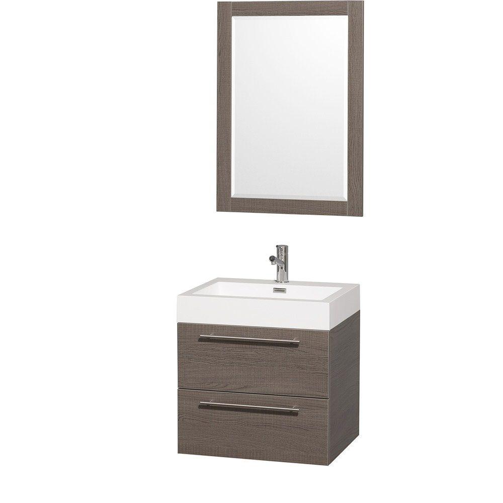 Amare 24 Wall Mounted Bathroom Vanity Set With Integrated Sink Contemporary Bathroom Vanity Single Bathroom Vanity Bathroom Sink Vanity