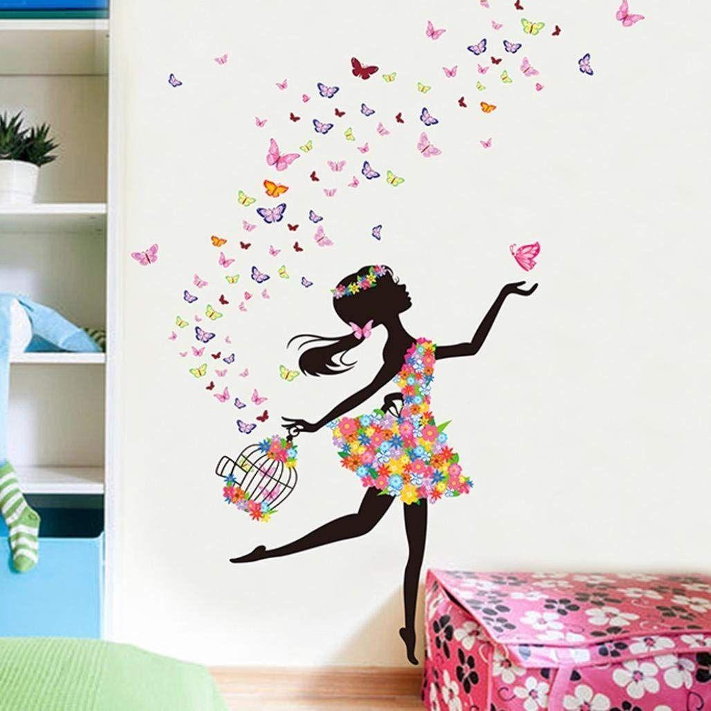Schmetterling Ballerina Wandtattoo Fur Das Kinderzimmer Kleiner Tanzerinnen In 2020 Dekorative Wandmalereien Wandgemalde Selbstgemacht Malerei Schlafzimmer Wande