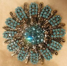 Vintage, Fashion Jewelry, Ladies Cutglass Turquoise and Crystal Round Brooch/Pin