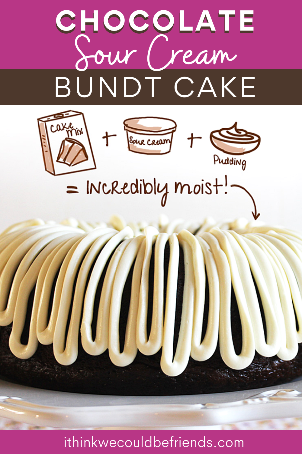 The Best Chocolate Sour Cream Bundt Cake Recipe Starts With A Cake Mix But Gets Better In 2020 Bundt Cakes Recipes Bundt Cake Recipes