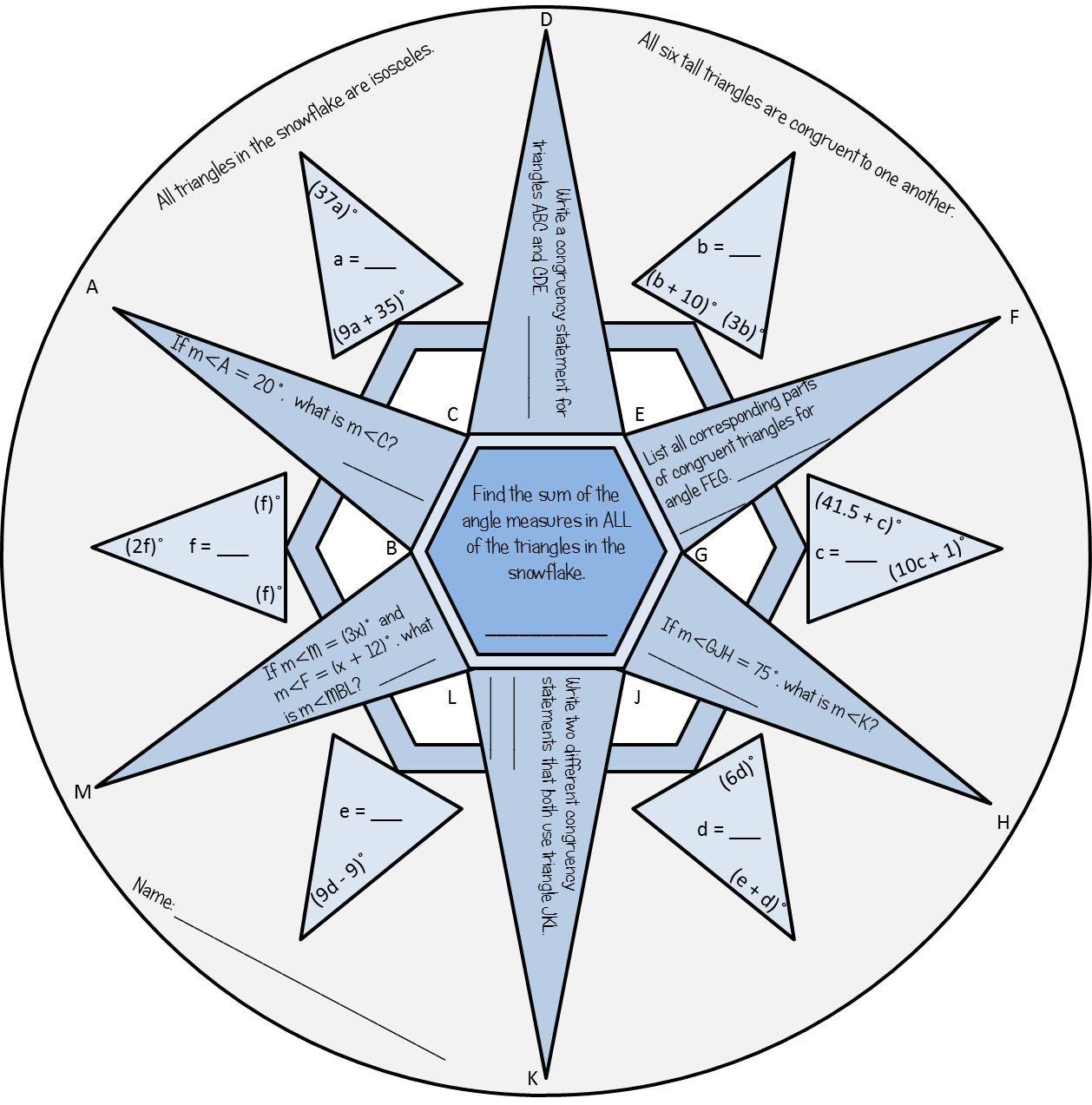 Congruent Triangles: Winter Snowflake | Geometry | Geometry ...