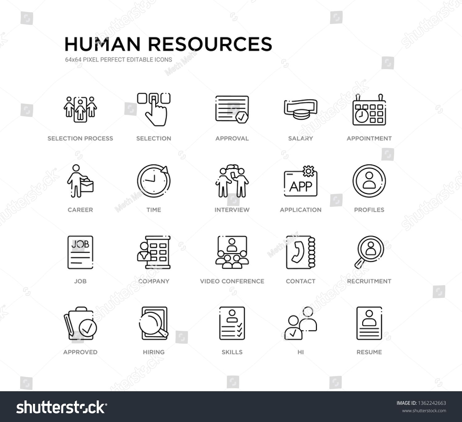 set of 20 line icons such as video conference, company