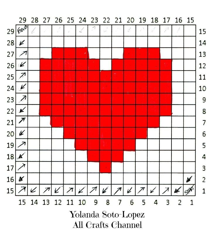 Crochet Heart – Easy C2C (coin à coin) Heart Square pattern – All Crafts Channel   – crochet