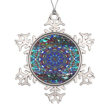 Southwestern Absrtract Design Snowflake Pewter Christmas Ornament - beautiful gift idea present diy cyo
