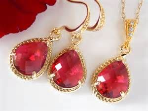 Jewelry Set Fuschia Earrings And Necklace Set Hot Pink Dark Pink