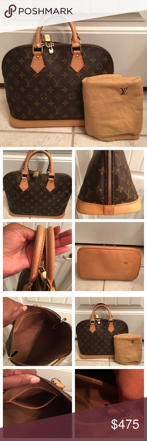 Louis Vuitton Alma PM 100% Authentic. Date code: TH1926  This bag is in great condition!  Comes with lock, no key and dust bag.  Inside has no stains and is in perfect condition.  Zippers work fine. Outside canvas in excellent condition.  Straps are in great condition as well with no stains. One stain on the bottom of the bag as shown in the pic. Louis Vuitton Bags Totes