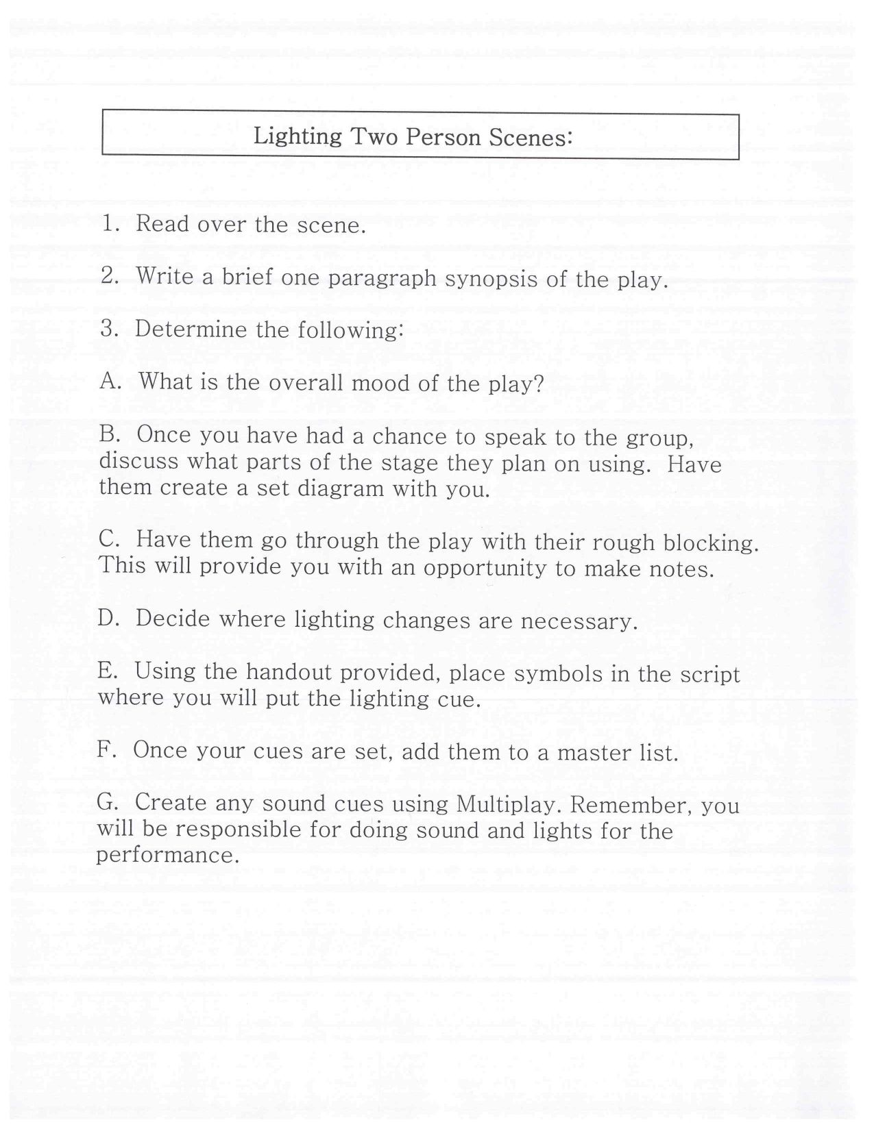 this is the first page of the assignment  this can be used for a theatre tech or production