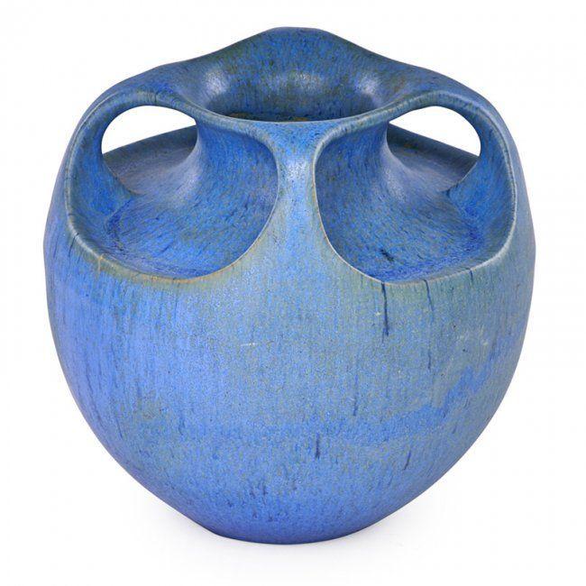 Fulper Four Handled Vase Matte Blue Glaze Flemington Nj 1915 20 Vase Crafts Ceramic Vases Design Large Glass Vase