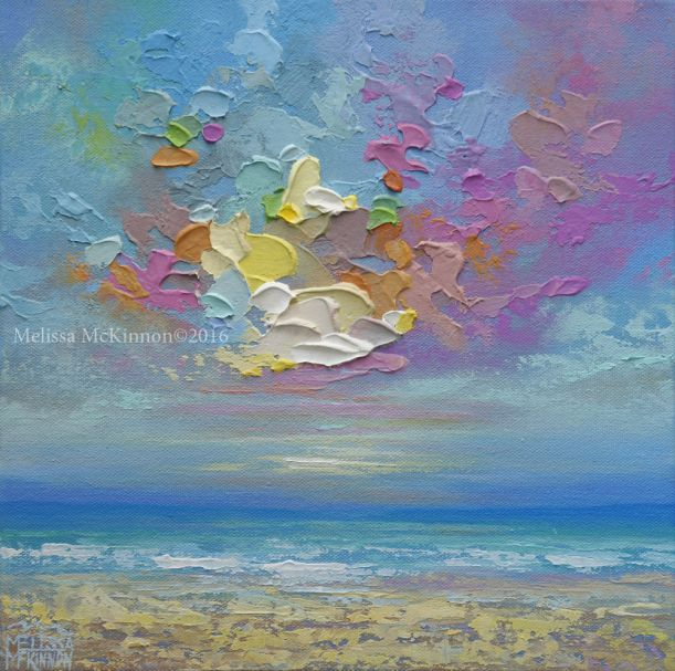 Colourful Ocean Sky Cloud Sunset Beach Painting By Canadian Contemporary Landscape Artist Painter Meliss Contemporary Landscape Artists Sky Painting Sunset Art