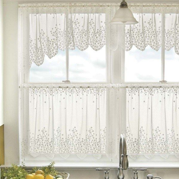 White Lace Kitchen Window Curtains Ideas Cafe Curtains Tier