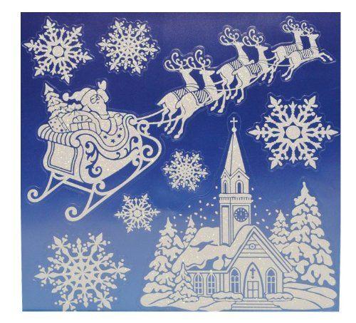 8 tlg set fensterbild weihnachtsmann schnee weihnachten. Black Bedroom Furniture Sets. Home Design Ideas