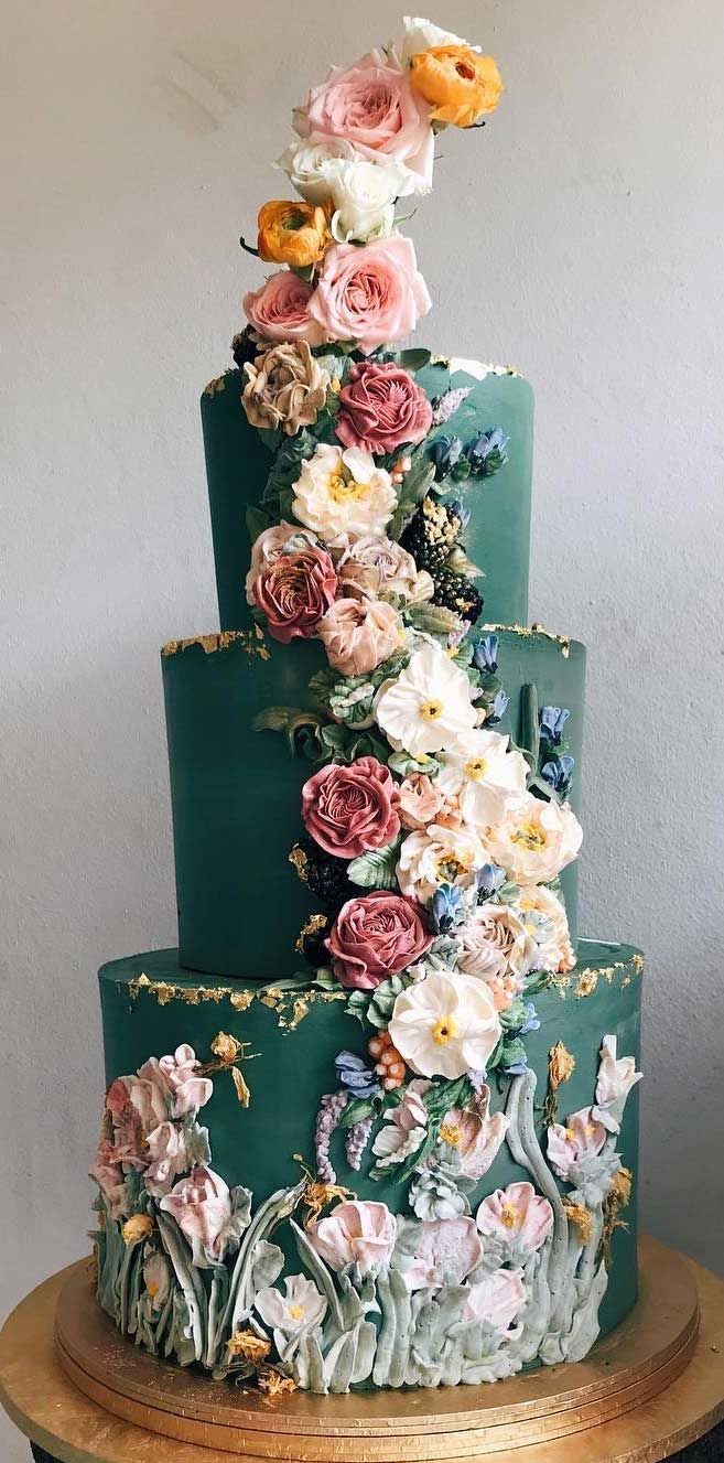 The 50 Most Beautiful Wedding Cakes – Green wedding cake #cakedesigns