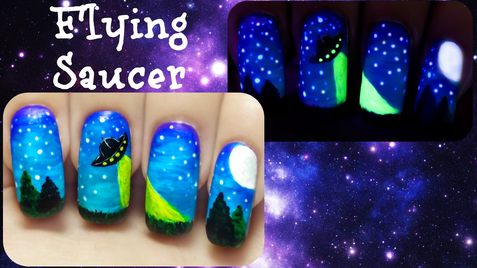 UFO Flying Saucer ⎮ Glow in the Dark Freehand Nail Art Tutorial ...