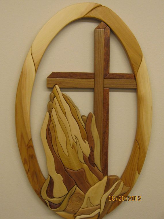 Praying hands v religious and carved intarsia gift by