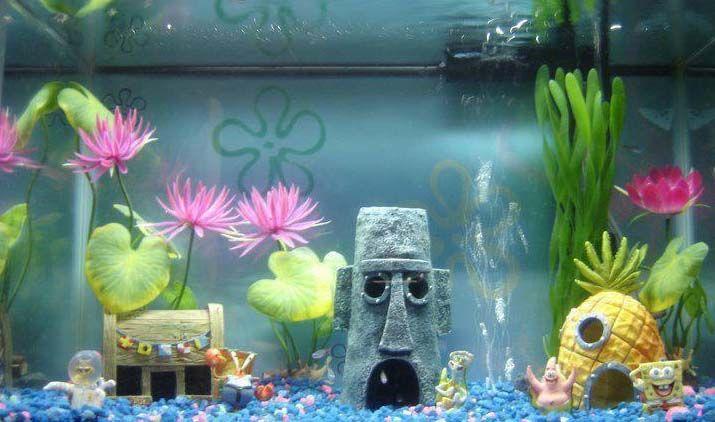 spongebob aquarium ornaments turn your fish tank into. Black Bedroom Furniture Sets. Home Design Ideas