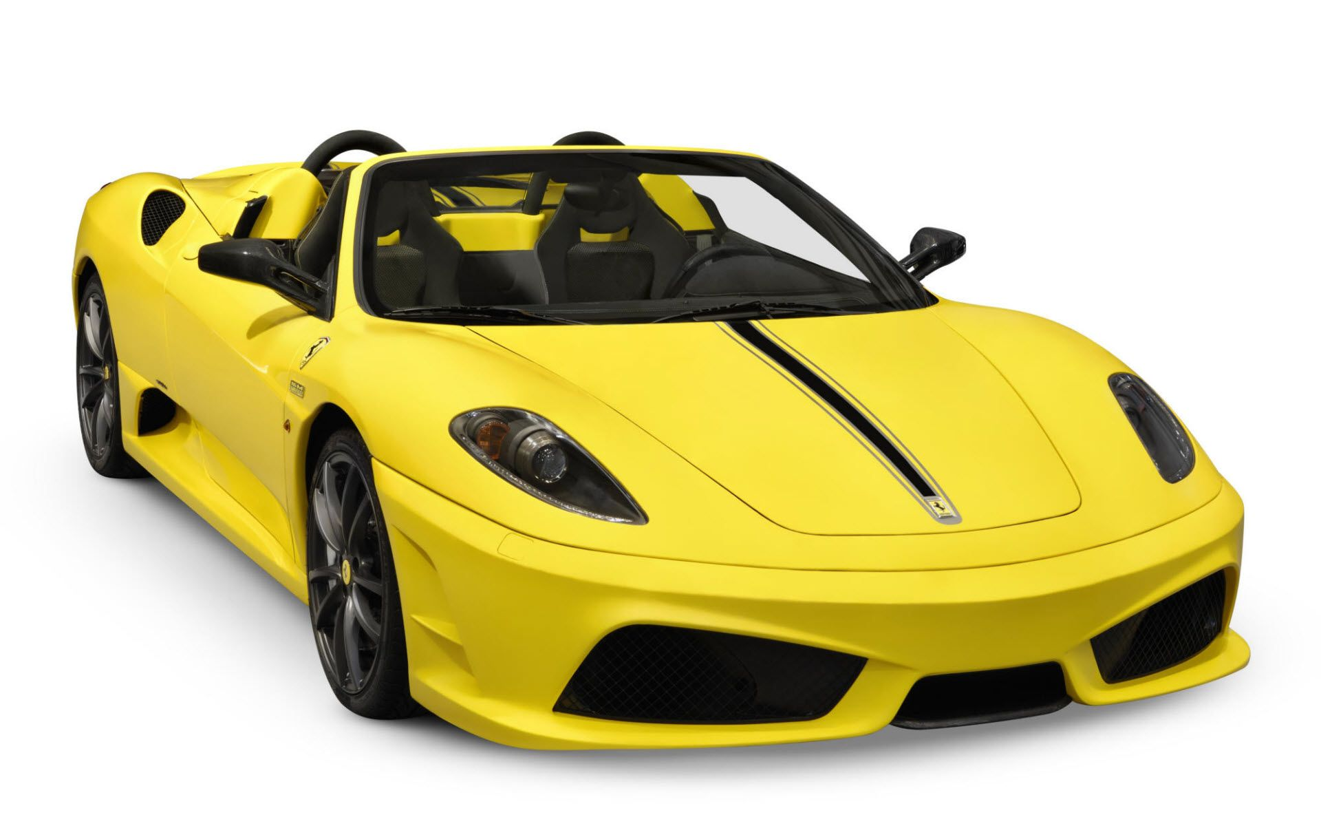 Amazing Yellow Ferrari Sport Cars Cabriolet Front Right Angle View