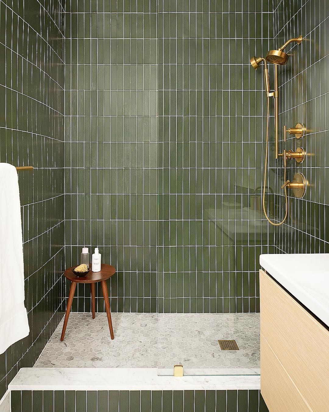 "BANNER DAY - CLARA JUNG on Instagram: ""Green with envy? When people think of green + bathroom, a space that is sophisticated and beautiful is not the first thought. Luckily, we…"""