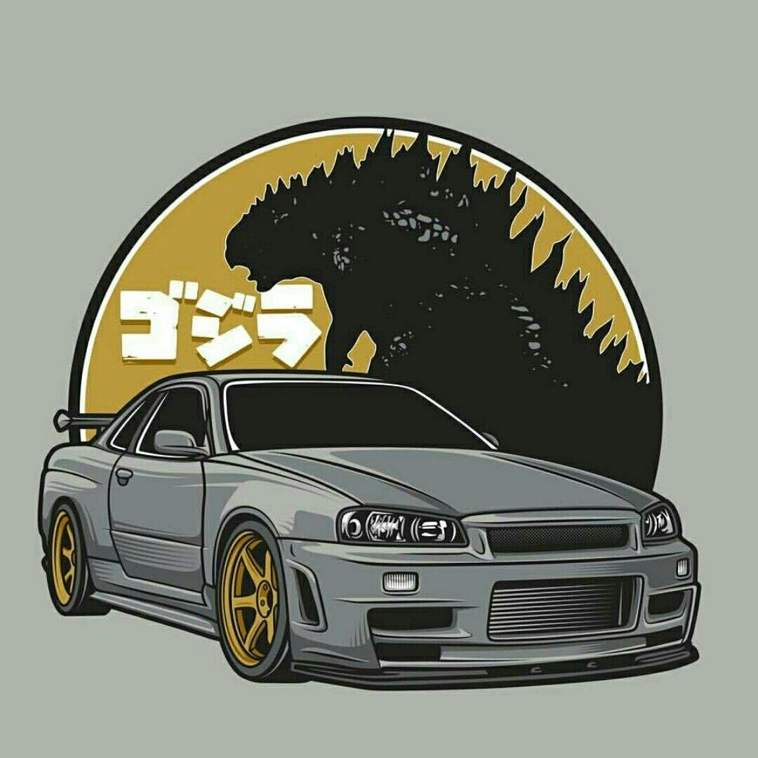 Gtr34 Godzilla With Images Nissan Skyline Gt Art Cars