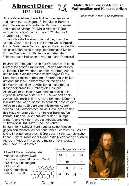 albrecht d rer 1471 1528 lebenslauf mit text und bildern arbeitsblatt be pinterest. Black Bedroom Furniture Sets. Home Design Ideas