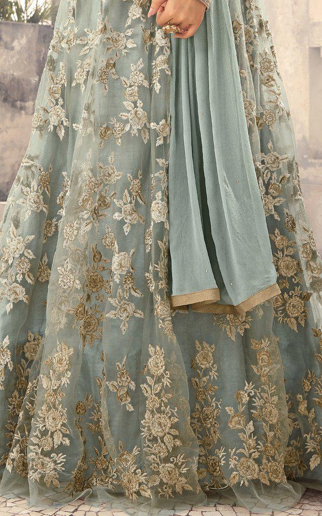 Light Blue Designer Embroidered Net Anarkali Suit | Desi