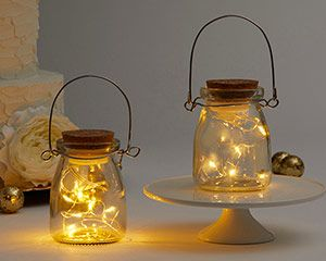 Hanging Clear Jar With Fairy Lights (Set of 4) #fairylights