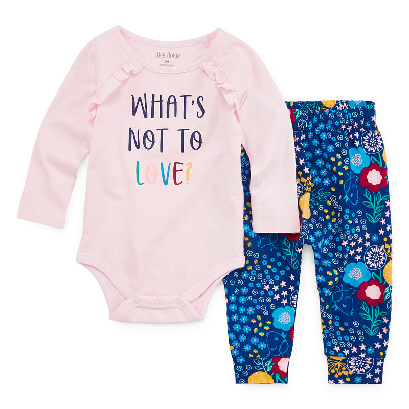 Okie Dokie 2 Pc Bodysuit Set Baby Girls Outfit Sets Baby Clothes Girls Clothing Sets