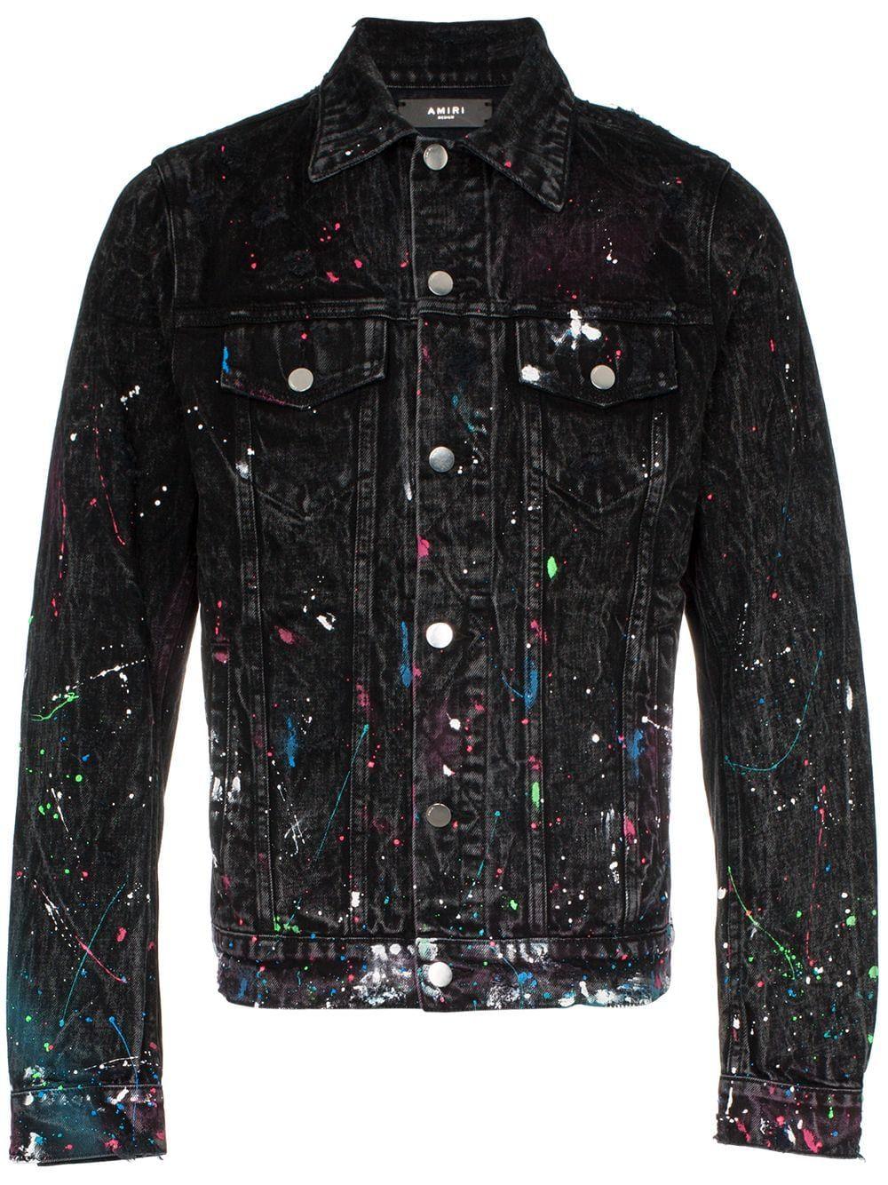 Amiri Paint Splatter Print Denim Jacket Farfetch Printed Denim Jacket Denim Jacket Distressed Denim Jacket [ 1334 x 1000 Pixel ]